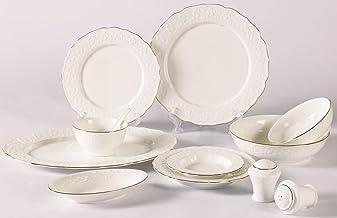Reem PorcelainDinner Set of 72 Pieces,White