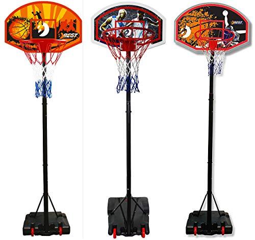 Best Sporting Basketball-Ständer, höhenverstellbar, wetterfest, Basketballkorb mit Rollen (schwarz/orange, 305)