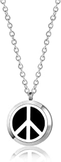 Anavia Silver Aromatherapy Diffuser Essential Oil Necklace with 12 Reuse Pads Stainless Steel Locket Jewelry
