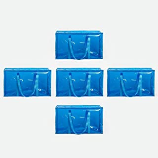 ATBAY Moving Tote Bags Extra Large Reusable Closet Organization Storage Bags with Zipper and Strong Handles for Clothes/Shoes/Blanket/Pillow,Blue 5pack