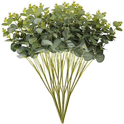 Tifuly 4 PCS Artificial Silver Dollar Leaf Eucalyptus Bouquets,19.7 inch Fake Eucalyptus Leaf Silke Greenery Foliages Plants For Home Party Wedding Christmas Decoration, Centerpieces(Grey Green)