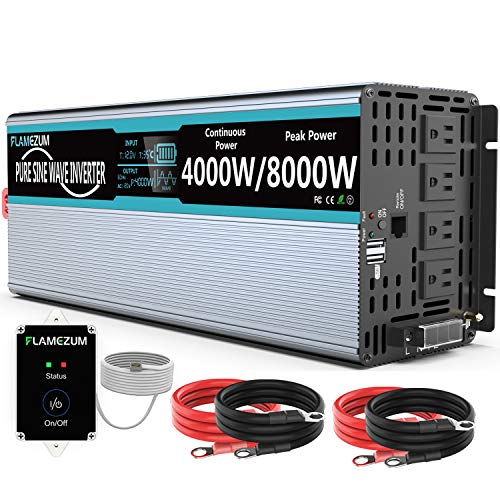 FLAMEZUM Pure Sine Wave Power Inverter 4000Watt 12V DC to AC 110V 120V Peak Power 8000Watt with Remote Control 4 AC Outlets and Dual USB Port for CPAP RV Car Solar System Emergency