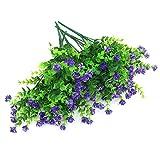 Shiwaki 5Pcs Simulazione di Fiori Artificiali pianta Verde eucalipto Bouquet di Piante per Vaso Portico Finestra Scatola Patio Decorazione della casa di Nozze (Viola)