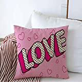 Decorative Linen Square Throw Pillow Cover Purple Label 3D Doll Love Word On Pink LOL Red Birthday Color Cute Heart Party Design Romance Text Soft Cushion Pillowcase Case for Bed Chair 20 x 20 Inch