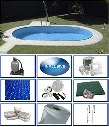 Summer Fun Stahlwandbecken Set Rhodos Exklusiv oval 3,50m x 7,00m x 1,50m Folie 0,6mm Ultra All Inklusive Set Pool Ovalpool / 350 x 700 x 150 cm Stahlwandpool