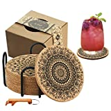 Coasters for Drinks, Jecarden Coasters for Wooden Table Coasters for Drinks Absorbent with Holder 8-Pack Nature Cork Coasters Round Cup Mat Pad Vintage Mandala Style 4' Diameter