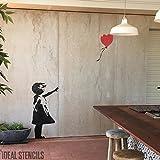 fille au ballon de Banksy XL taille réelle paroi murale pochoir - GIRL 112CM HIGH