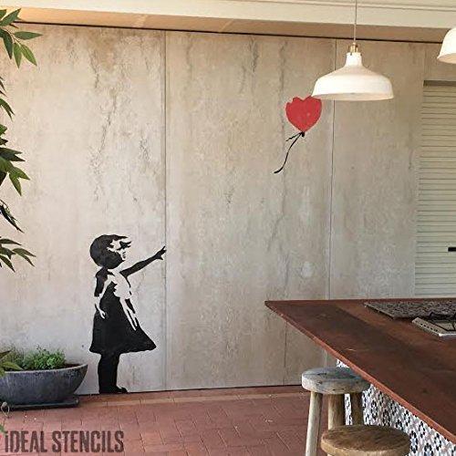 Banksy Ballon Mädchen XL Lebensgröße Wandsticker Wand Schablone - GIRL 78CM HIGH