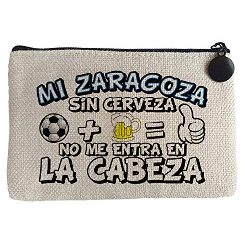 Monedero Mi Zaragoza sin Cerveza no me entra en la cabeza - Beige, 15 x 10 cm