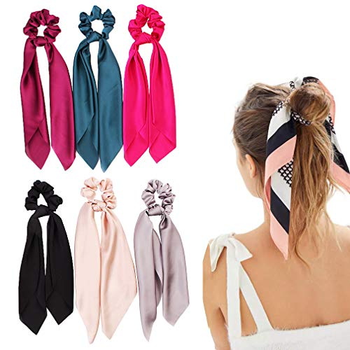 Silk Satin Hair Scrunchies Hair Scarf with Bow Silk Elastic Hair Bands Stripe Printed Hair Bobbles for Ponytail Holder 6 Pcs Solid Colors