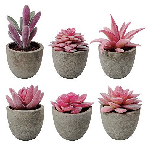 SAJANDAS - 6 piante grasse artificiali in vaso, colore rosa, con vasi grigi, piccole piante grasse finte, per decorazione ufficio, soggiorno