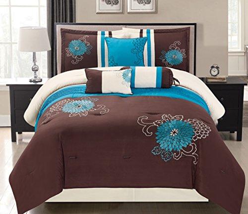 Grand Linen 7 Piece Modern Oversize Turquoise Blue/Brown/Beige Embroidered Comforter Set Queen Size Bedding