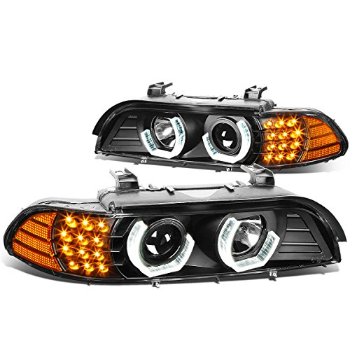 Replacement for BMW E39 5-Series 3D Crystal Halo Projector Headlight w/Amber LED Corner Lights (Black Housing)