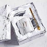 Xiaobing Tazza in ceramica alla moda con tazza con motivo in marmo dorato Tazza da caffè creativa per ufficio -B52-301-400ml