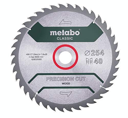 metabo 628325000 628325000-Hoja de Sierra PrecisionCutClassic 254x30 40WZ 20°, Negro