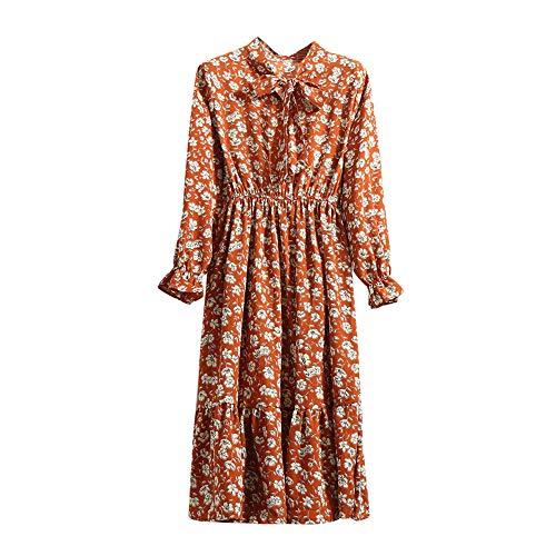Xmiral Damen Kleid Floral Chiffon Langarm Druck Lässige Party Vintage Boho Maxi Kleider(S,Orange 1)
