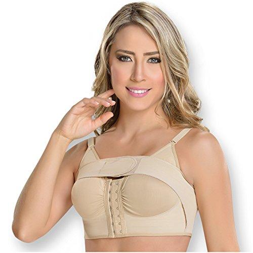 M&D 0018 Chirurgischer Brustvergrößerung BH mit Schlaufe - Faja Colombiana BH - Beige - Medium