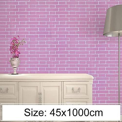 FAMILIE TOOLS & WALLTREATMENTS STICKERS JJRKYY creatieve PVC baksteen decoratie behang sticker slaapkamer woonkamer muur waterdicht behang roll, grootte: 45 x 1000 cm (geel) zwart