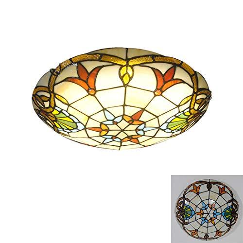 Tiffany-Stil Deckenlampe, Barock Runde LED Deckenleuchte, Buntglas-Deckenleuchten für Flur Wohnzimmer Schlafzimmer Küche Badezimmer,6000k,30CM