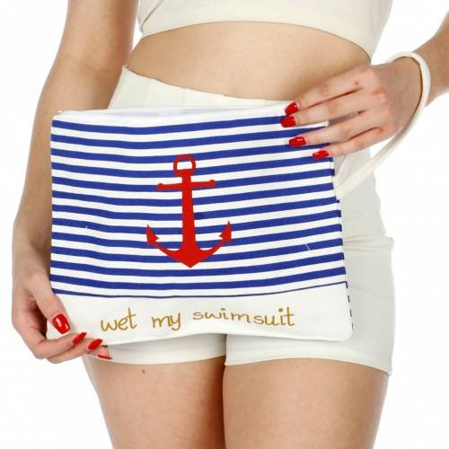 Knitting Factory Wet Swimsuit Bag, Wet Bikini Bag, Water-Resistant Wet Bag with Waterproof, Eco-Friendly Cotton Towel Beach Tote, Pool Bag, Luggage (Anchor Selection)