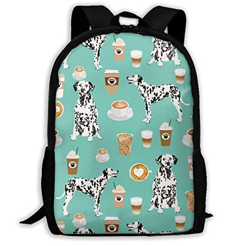 NOT Dalmatians Cute Mint Coffee Best Dalmatian Dog Print Travel Laptop Backpack,College School Backpack for Boys and Girls Water Resistant Student Backpack,Black