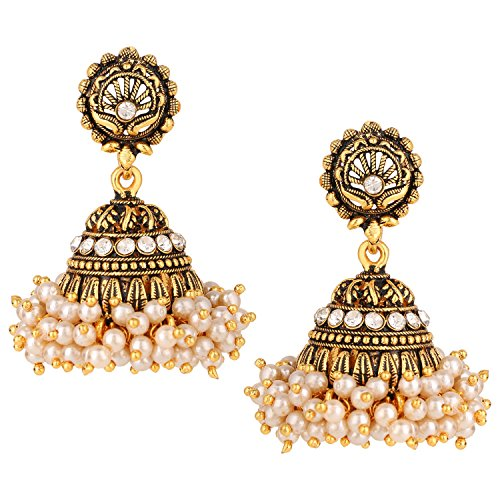 Efulgenz Indian Vintage Bollywood Gypsy Oxidized Gold Plated Traditional Jhumka Jhumki Earrings for Women and Girls (Style 5)