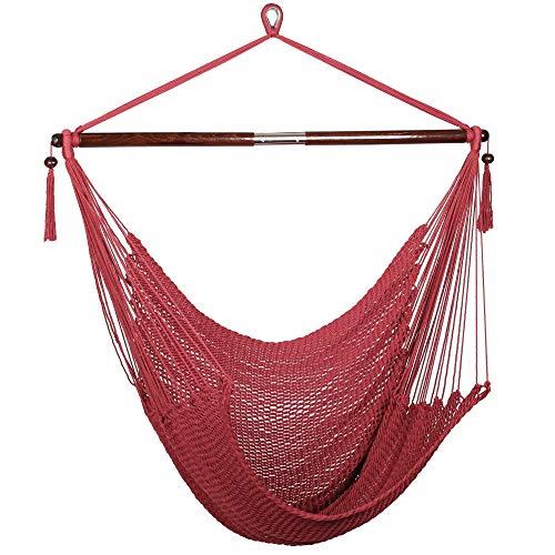 Bathonly Large Caribbean Hammock Hanging Chair, Durable Polyester Hanging Chair, Swing Chair w/Foldable Spreader Bar for Indoor/Outdoor Garden & Living Room - Red