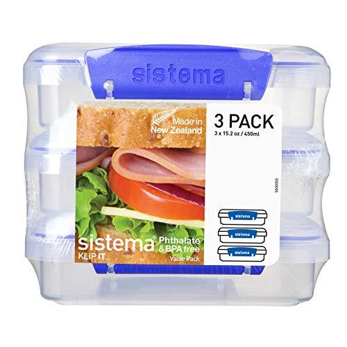 Sistema Sandwich Box 450ml 3er Pack, Kunststoff, bunt, 14,5 x 15 x 12,4 cm, 3-Einheiten