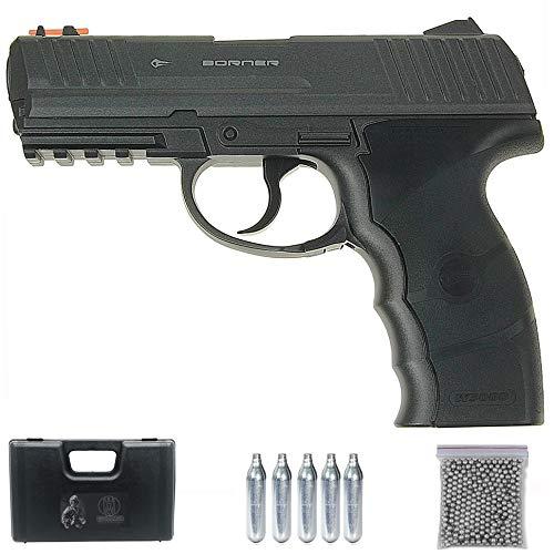 Borner W3000M CO2 Full Metal | Pistola de balines (perdigones: Bolas bb's de Acero) Calibre 4.5mm semiautomática
