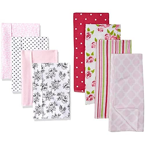 Hudson depot Baby Girl Cotton Flannel Burp Rose New color 8-Pack Toile Cloth