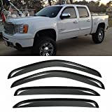 VioGi New 4pcs for 07-13 Chevy/GMC Crew Cab Pickup Dark Smoke Out-Channel/Outside Mount Style Wind Sun Rain Guard Vent Shade Deflector Window Visors