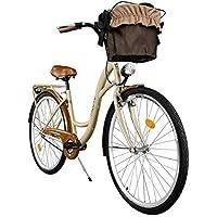 """Milord. 2018 Cómoda Bicicleta de ciudad con una Canasta, Bicicleta, 1 Velocidad, Rueda de 28"""", Marrón"""