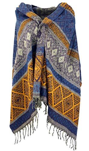 GURU SHOP Weicher Pashmina Schal/Stola, Schultertuch, Plaid, Herren/Damen, Inka Muster Flieder/gelb, Synthetisch, Size:One Size, 200x90 cm, Schals Alternative Bekleidung