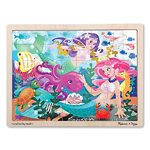 "Melissa & Doug Mermaid Fantasea Wooden Jigsaw Puzzle (Preschool, Sturdy Wooden Construction, 48 Pieces, 15.7"" H x 11.7"" W x 0.45"" L, Great Gift for Girls and Boys - Best for 4, 5, and 6 Year Olds)"