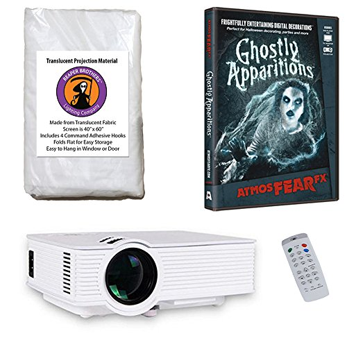 AtmosFearFx Ghostly Apparitions Halloween DVD Projector Kit with 1900 Lumen LED Video Projector, Reaper Brothers High Resolution Window Rear Projection Screen and AtmosFearFX Ghostly Apparitions DVD
