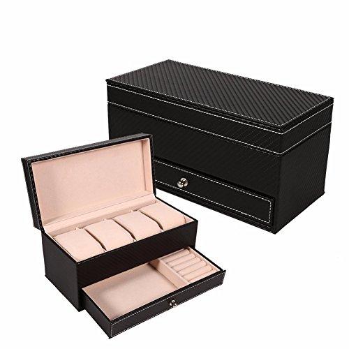 TQ 4 Grids CF Rechteck Leder Uhrenbox Schmuckschatulle Mit Schublade Makeup Oganizer Uhr Schmuck Schatulle Aufbewahrungsbox Hochzeit Geschenkbox,Black