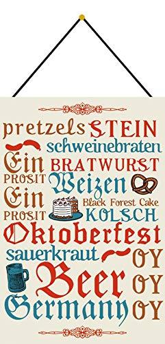 Blechschild 20x30cm gewölbt mit Kordel Oktoberfest Bier Weizen Sauerkraut Schweinebraten Metall Deko Geschenk Schild
