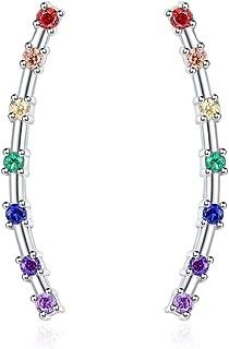 Silvora Luxury Sterling Silver Stud Earrings, S925 Fine Jewelry AAA+ Cubic Zirconia Elegant Earrings Charms for Women Girls (Send Gift Box)