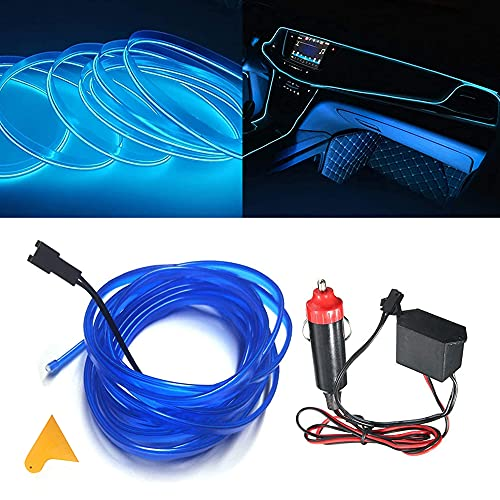 El kit de alambre del alambre Luces de coche Luces LED con interior frío Decoración del coche Atmósfera Tubos de neón redondos DC 12V Inversor de 360 grados Iluminación (Blue, 5M/16FT)