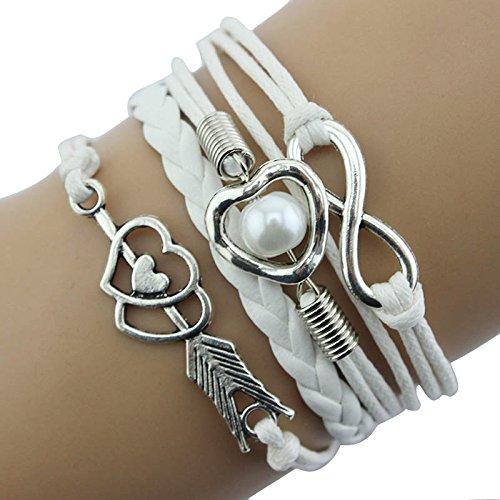 Janly Clearance Sale Pulseras para mujer, diseño de corazón con perlas de infinito y corazón de la amistad, de cuero antiguo, para Navidad, San Valentín, color blanco