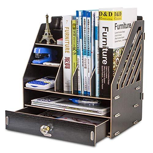 Organizador de escritorio organizador de madera con múltiples capas de almacenamiento con 2 cajones, para libros de archivos, estantería, decoración del hogar (tamaño: 33 x 23 x 36 cm; color: negro)
