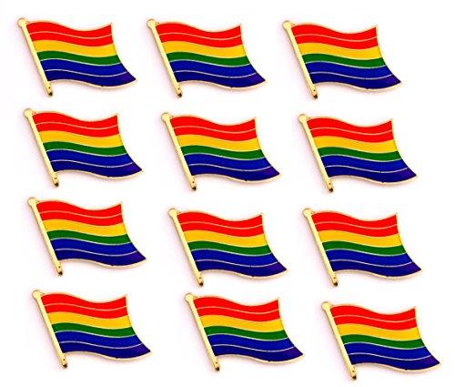 Artisan Owl Gay & Lesbian Pride Rainbow Flag Lapel Hat Pin (Set of 12)