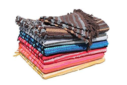 GMMH Fleckerlteppich Baumwolle Streifen Handweb Teppich Flickenteppich Fleckerl Handwebteppich (116 x 190 cm, blau)