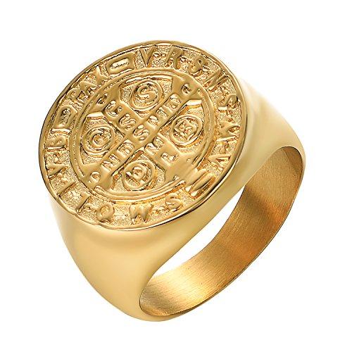 Yoursfs - Anello rotondo placcato oro, motivo: croce di San Benedetto, da uomo, accessorio o regalo di anniversario per San Valentino e Fede, 20, colore: oro, cod. R955Y1-9FR