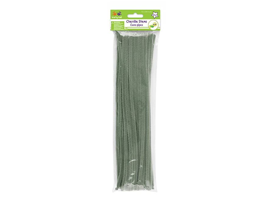 Krafty Kids GC024V Chenille Stems, Pipe Cleaners, 6mm by 12in, Light Grey, 40-Piece, 12