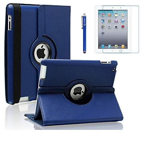 AiSMei Case for iPad 4 (2012), Rotating Stand Case Cover for 9.7-inch Apple iPad A1395, A1396, A1397, A1403, A1416, A1430, A1458, A1459, A1460, Bonus Stylus Film, Navy Blue