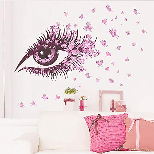 EANUR Wall Decals Beautiful Eyes and Butterflies Peel and Stick Wall Stickers Art Decor for Living Room Bedroom Office Classroom Vinyl Removable Wall Decoration