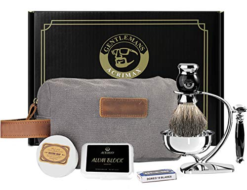 ACRIMAX Shaving Kit for Men Wet Shave Set, 8in1, Safety Razor with 10 blades, Badger Hair Brush, Shave Soap, Alum Block, Stainless Steel Shaving Stand, Soap Bowl and Canvas Dopp Kit, Fathers Day Gifts