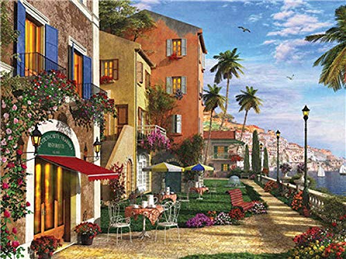 ZDDWLDL Paint by Number Kits,DIY Digital Canvas Oil Painting for Kids Seaside Town Garden for Relaxation and Home Wall Decor and Best Gift for Beginners and Children(16x20inch Frameless)