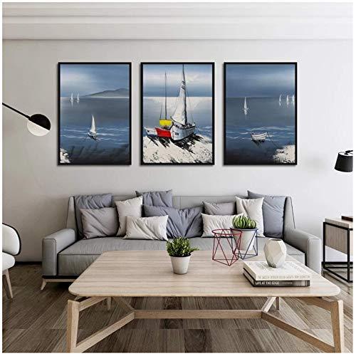 Nbqwdd Magnífico Paisaje Marino Abstracto Pintura en Lienzo Estilo nórdico Cartel de Vela Arte de Pared Cuadros modulares para Sala de Estar -50x70cmx3 sin Marco